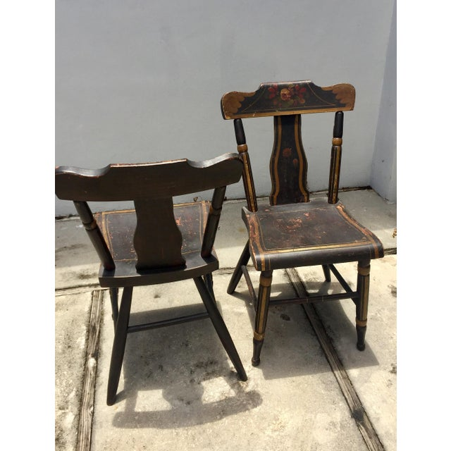 Cottage 19th Century Hitchcock Style Painted Chairs - a Pair For Sale - Image 3 of 9