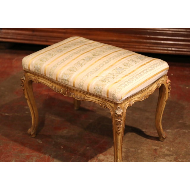 19th Century French Louis XV Carved Painted Stools With Silk Fabric - a Pair For Sale - Image 4 of 7