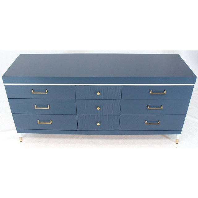 Blue White and Blue Exposed Sculptural Compass Shape Legs Nine Drawers Dresser For Sale - Image 8 of 9