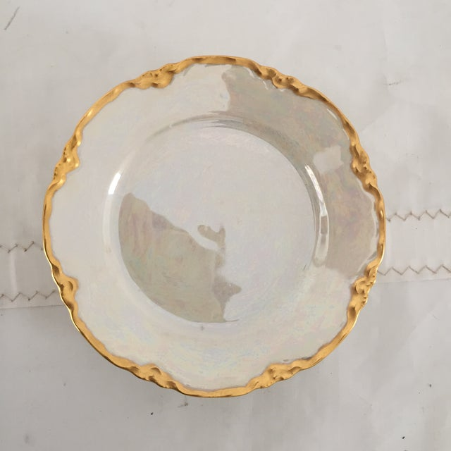 "French Style Lusterware Pearl White/Gilt Rim Bread Plates Set (5) Excellent 6.25"" Dia."