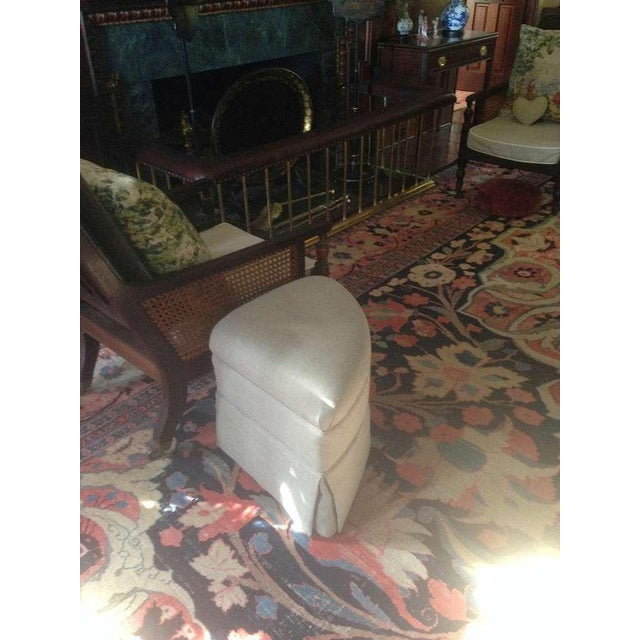 Textile Upholstered Crescent Shape Ottomans on Casters - A Pair For Sale - Image 7 of 7