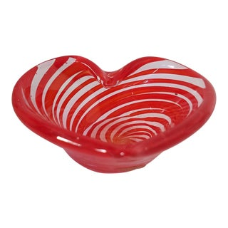 Vintage Italian Red Heart Shaped Glass Ashtray For Sale