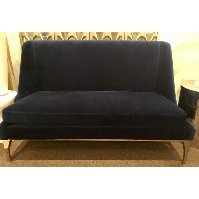 Original Retail $2600, stylish Worlds Away Modern Navy Blue Velvet Gianna Settee, chrome base, showroom floor sample