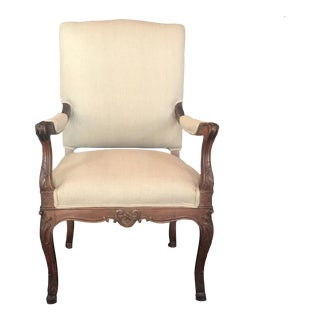 19th Century French Carved Regency Style Walnut Chair With Scrolled Arms For Sale