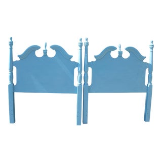 Hollywood Regency Beach Blue Twin Headboards - a Pair For Sale