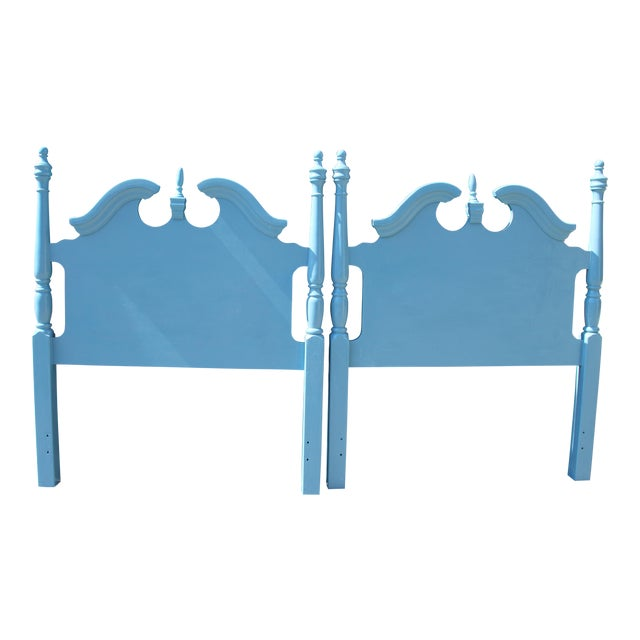 Hollywood Regency Beach Blue Twin Headboards - a Pair Will Paint Any Color for Additional Fee. For Sale