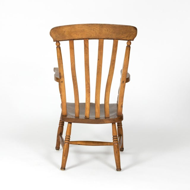 English Elm Vertical Slat Back Armchair Circa 1890 With Turned Legs and H-Stretcher For Sale - Image 4 of 13