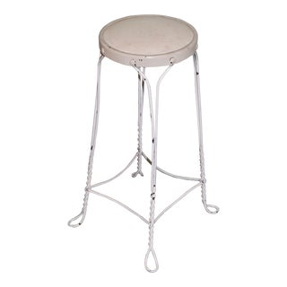 Mid 20th Century Twisted Iron Ice Cream Parlor Stool For Sale