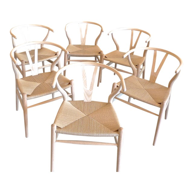 Contemporary Danish 1960s Style Wishbone White Oak Riff Wood Arm Chairs - Set of 6 For Sale