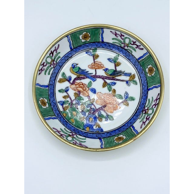 1950s Japanese Emerald Green and Blue Brass Cased Bowl with Birds For Sale In Houston - Image 6 of 11