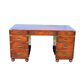 20th Century Vintage Wood and Gold Brass Campaign Desk