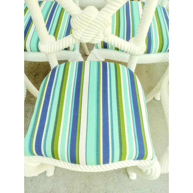 Set of 10 Stunning Gloss White Rope Knot Nautical Coastal Twisted Dining Room Chairs W/Blue Striped Fabric For Sale - Image 9 of 11