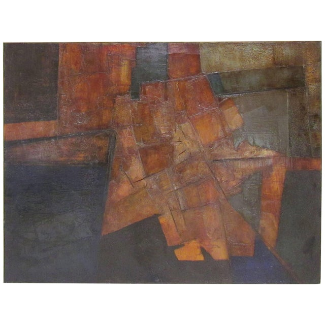 Brutalist Abstract Modernist Painting by Berkshire Artist John Stritch, 1963 For Sale