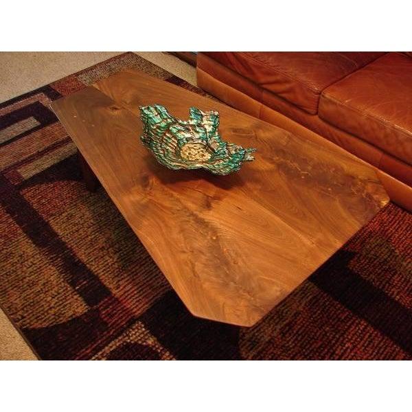 Mid Century Modern Walnut Slab Coffee Table - Image 3 of 7