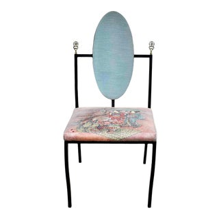 Vintage Hollywood Regency Chinoiserie Accent Chair Aqua Red Upholstery Black Steel Tube For Sale