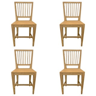 Swedish Gustavian Pine Dining Chairs- Set of 4 For Sale