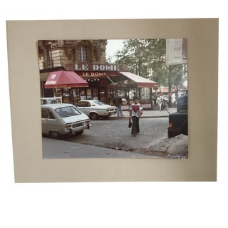 Framed 1977 Signed Photograph of Le Dome Cafe Boulevard St. Germain Paris For Sale