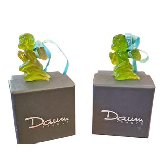 Pair of Daum Glass Xmas Tree Cherub Decorations For Sale