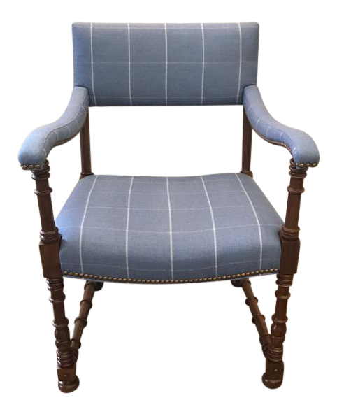 Traditional Hickory Chair Company Blue Wool Blackstone Arm Chair