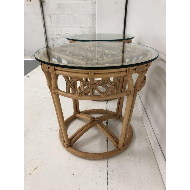 Tan Vintage Boho Chic Rattan and Reed Side Tables - a Pair For Sale - Image 8 of 11
