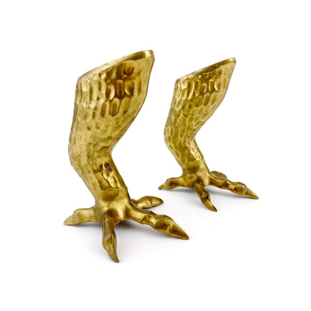 Gold 1970s Figurative Brass Eagle Bird Talon / Claw Candlesticks - a Pair For Sale - Image 8 of 8