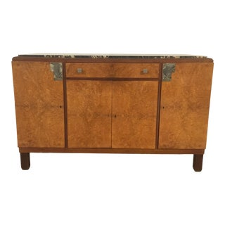 Antique Art Deco Wood and Black Marble Sideboard For Sale