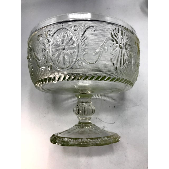 1940s Art Deco Pressed Sandwich Glass Compote Bowl For Sale In New York - Image 6 of 7