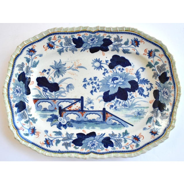 Mid Antique 19th Century Blue & White Transferware Ironstone Chinoiserie Platter For Sale - Image 9 of 9