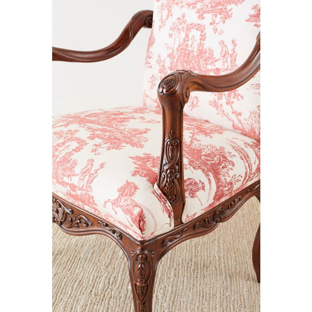 Wood Pair of French Provincial Style Walnut Toile Fauteuil Armchairs For Sale - Image 7 of 13
