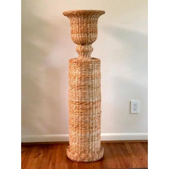 Vintage Rattan Urn Shaped Pedestal Plant Stand For Sale - Image 9 of 9