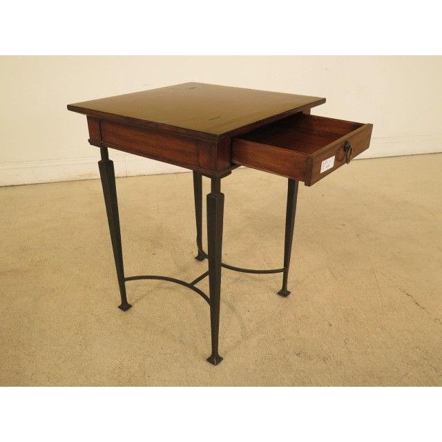 1990s Rustic Labarge Mahogany Top 1 Drawer Table For Sale In Philadelphia - Image 6 of 8