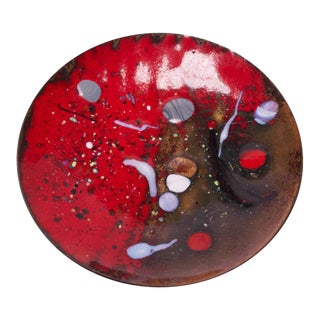 Small Red Vintage Dutch Enamel on Copper Decorative Dish For Sale