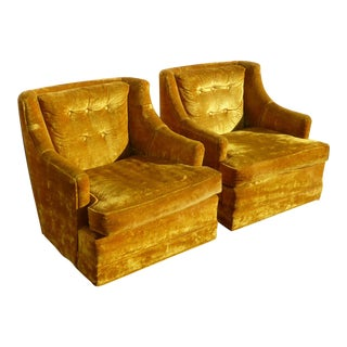 Vintage Mid-Century Gold Velvet Lounge Chairs - A Pair