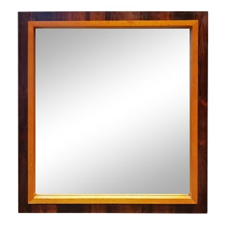 Mid Century Modern Teak and Walnut Wall Mirror For Sale