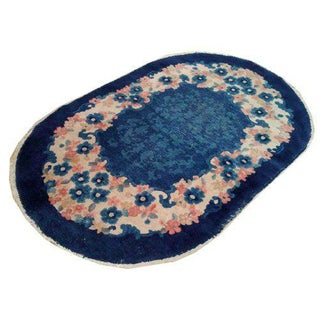 Antique Chinese Oval Handmade Knotted Rug - 3x5 For Sale