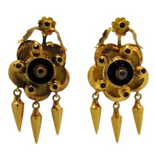 Pair of Antique 19k Gold Portuguese Earrings For Sale
