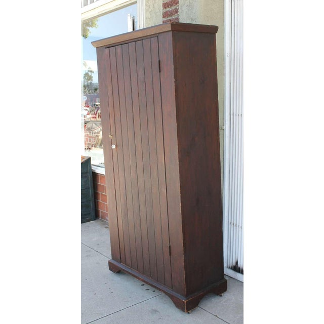 Original Brown Painted 19th Century Pennsylvania Wall Cupboard For Sale - Image 4 of 9