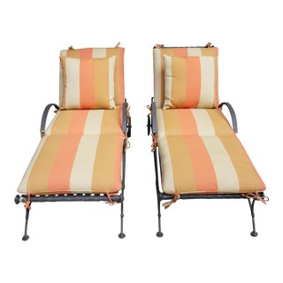 o.w Lee Hand Forged Iron Outdoor Chaise Lounges-Pair For Sale