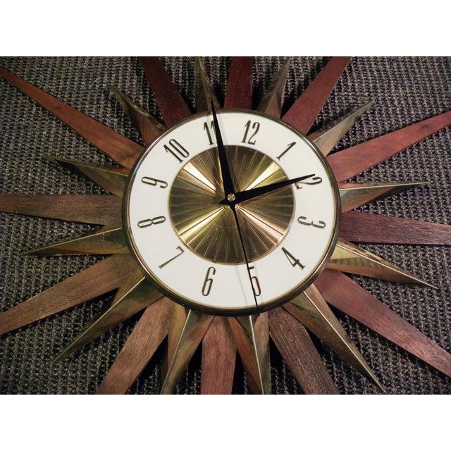 Vintage Elgin Mid Century Star Burst Wall Clock - Image 7 of 8