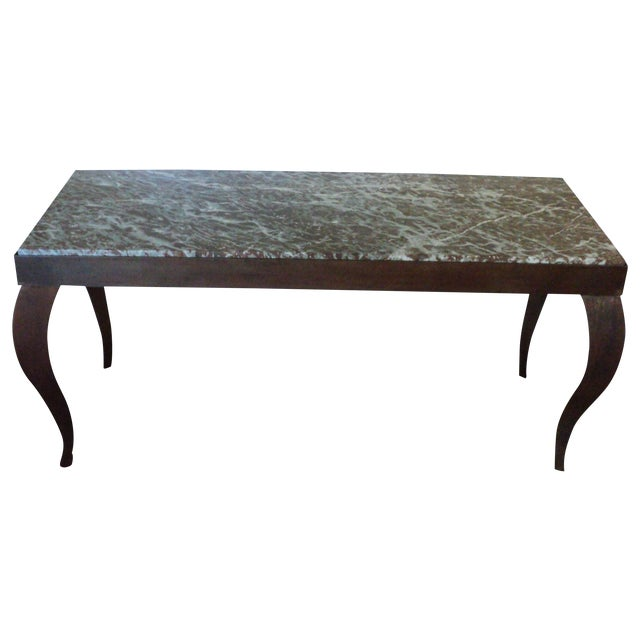 Custom Designed Metal & Marble Console Hall Table - Image 1 of 11