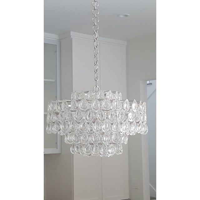 Offered is an Visual Comfort Aerin Collection, Liscia chandelier in polished nickel. Perfect entry piece! -12-Candelabra...