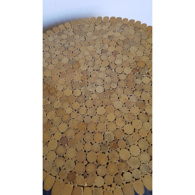 Boho Chic 1970s Hollywood Regency McGuire Natural Rattan Bamboo Sheaf of Wheat Table For Sale - Image 3 of 4