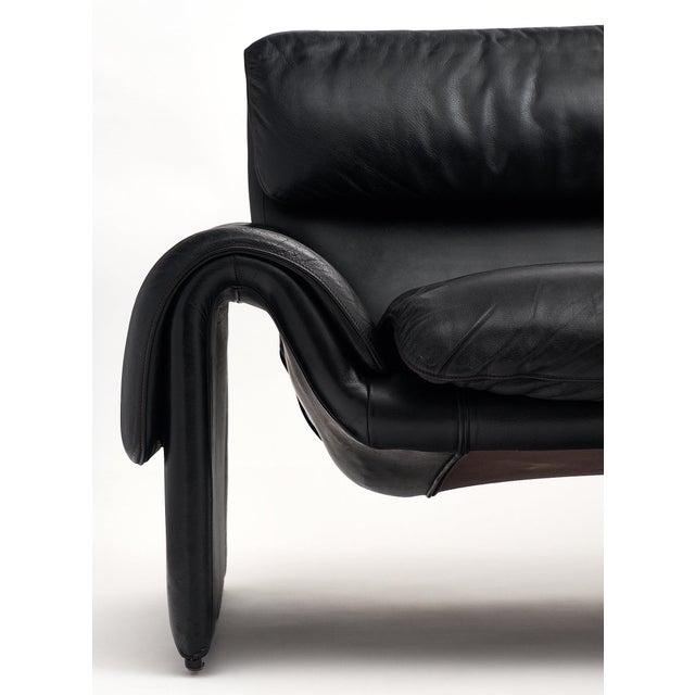 Vintage De Sede Black Leather Sofa For Sale In Austin - Image 6 of 11