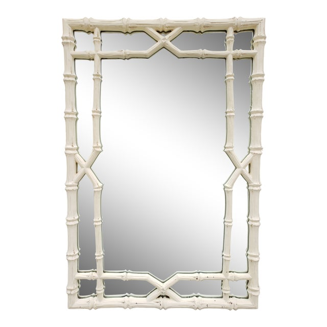 Large Faux Bamboo Hollywood Regency Painted Mirror For Sale