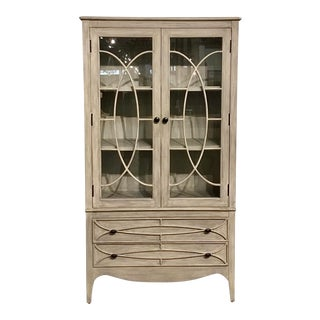 Transitional White Washed Gray Wood and Glass Display Cabinet For Sale