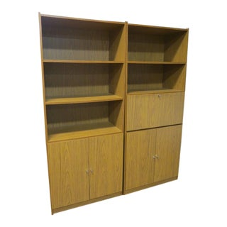 Sale! Vintage Mid Century Modern Walnut Laminate Bookcase/Bar Cabinets - a Pair For Sale