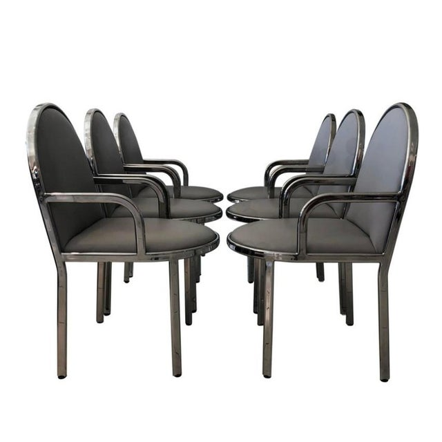 Silver Set of 6 Rougier Chrome Dining Chairs For Sale - Image 8 of 8