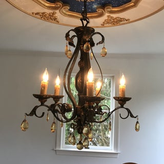 Chandelier Metal and Amber Crystals Preview