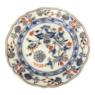 18th Century Vintage Meissen Porcelain Blue Onion Plate For Sale