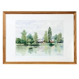 Image of Mid-Century Framed Watercolor Painting by Pol Antonis For Sale